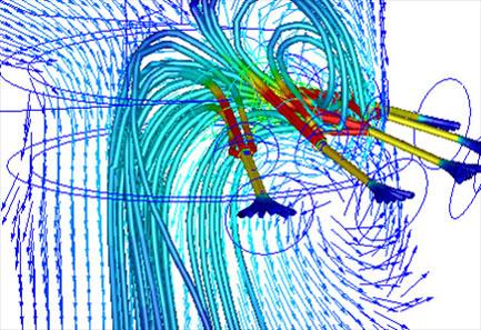 A vízpermet útját jelző áramvonalak a hűtőtoronyban
