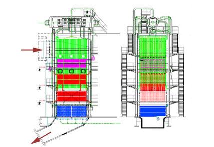 Hőhasznosító kazán (HRSG) a ki- és beömlést jelző nyilakkal