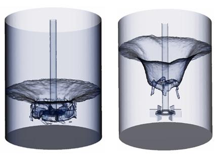 Keverés közben kialakuló örvények összehasonlítása két vízszint esetén