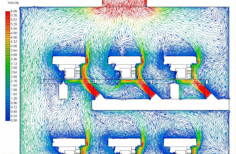 Nagy kapacitású hűtősoron lévő öntvények körül kialakuló áramlási kép sebesség vektorokkal szemléltetve