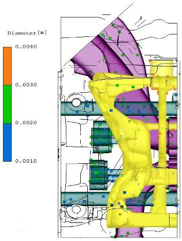 Forgácsok helye és mérete a szimuláció kezdetén - bal oldalról nézve