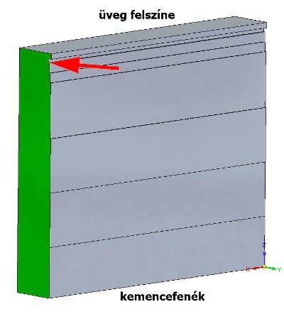A kiadagolási oldalhoz közel lévő fal elem kopási alakja az első szimuláció után