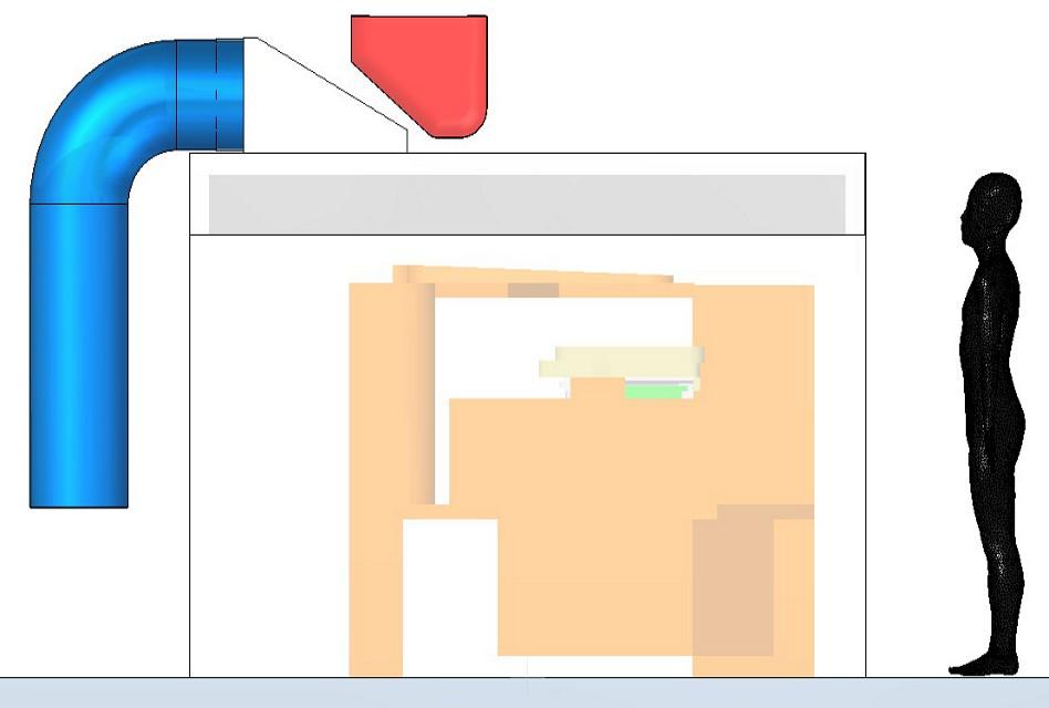 Az öntőkanál által elfoglalt piros terület az öntőgép oldalnézetében