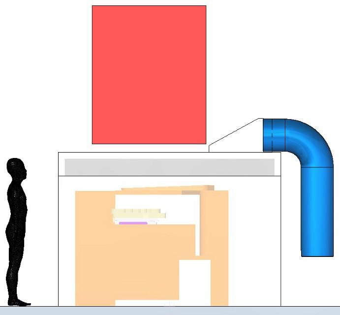 A manipulátor által elfoglalt piros terület az öntőgép oldalnézetében