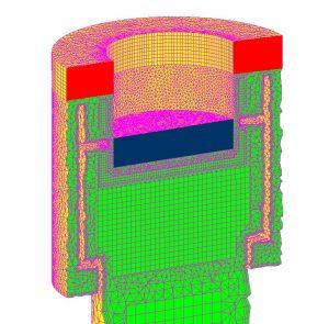 <i>Mozgás szimulációjához készített háló az extrudált (piros és kék) elemekkel</i>