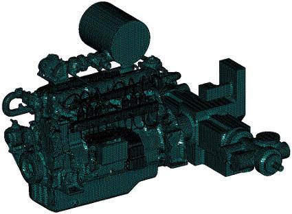 A szimulációra kész egyszerűsített motor-kompresszor egység