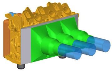 Elszívófej koncepcionális CAD modell a dugattyúk helyének irányából nézve