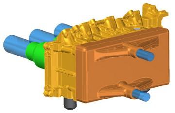 Elszívófej koncepcionális CAD modell a vezérműtengely helyének irányából nézve