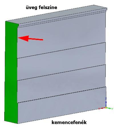 A beadagolási oldalhoz közel lévő fal elem kopási alakja az első szimuláció után