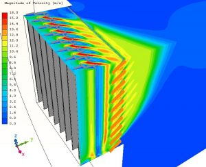 Dekorációs és ventilációs zsalu belépési konfigurációjának sebesség eloszlása