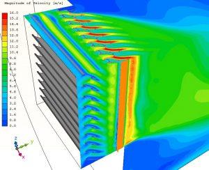 Dekorációs és ventilációs zsalu kilépési konfigurációjának sebesség eloszlása