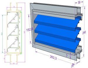 Zsalu 2D rajz és 3D modell a belépő oldal irányából nézve