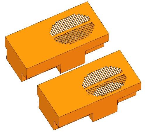 Az alsó szellőzők helye a kiindulási (felül) és a módosított burkolaton