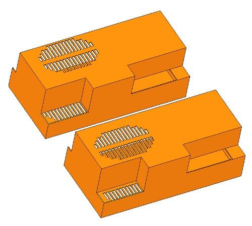 A felső szellőzők helye a kiindulási (felül) és a módosított burkolaton